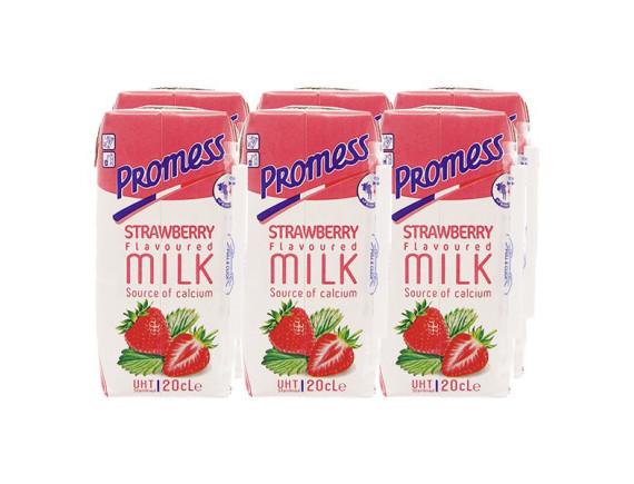 Lốc 6 Sữa Tươi Tiệt Trùng Promess Dâu Hộp 200Ml