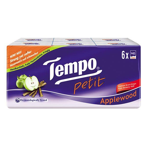 Khăn Giấy Bỏ Túi Tempo Petit Applewood 4 Lớp Lốc 6