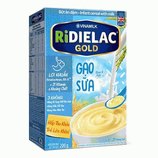 Bột Ăn Dặm Ridielac Gold Gạo Sữa Hộp Giấy 200G