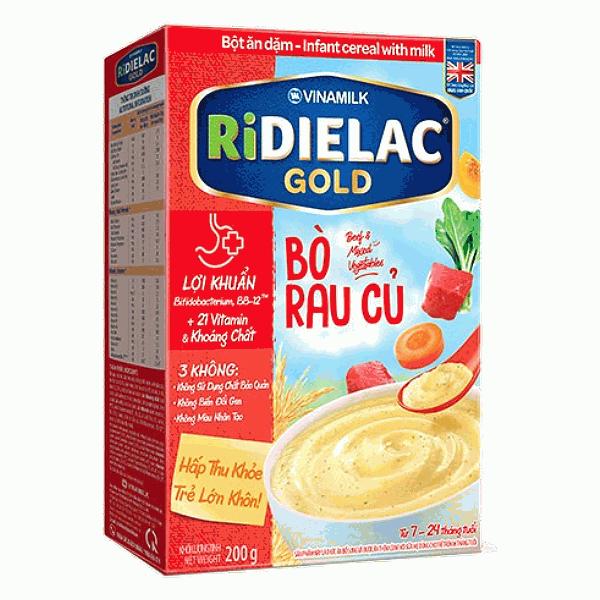 Bột Ăn Dặm Ridielac Gold Bò Rau Củ Hộp Giấy 200G