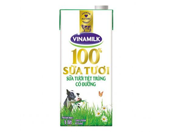 Sữa Tươi Tiệt Trùng Vinamilk Có Đường Hộp Giấy 1L