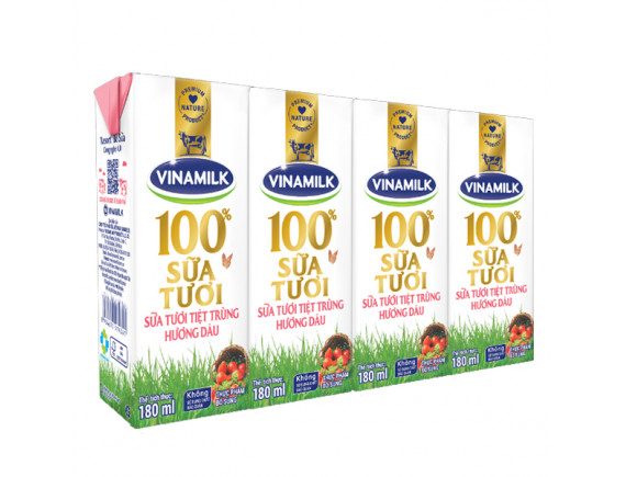 Lốc 4 Sữa Tươi Tiệt Trùng Vinamilk 100% Dâu 180Ml