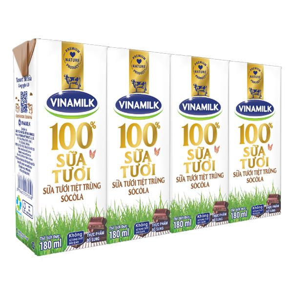 Lốc 4 Sữa Tươi Tiệt Trùng Vinamilk 100% Socola 180Ml