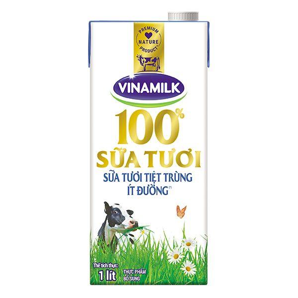 Sữa Tươi Tiệt Trùng Vinamilk Ít Đường Hộp Giấy 1L