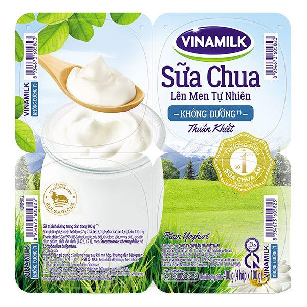 Lốc 4 Sữa Chua Ăn Vinamilk Không Đường 100G