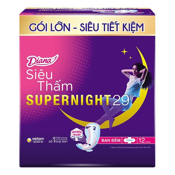 Băng Vệ Sinh Diana Super Night Có Cánh 29Cm Gói 12 Miếng