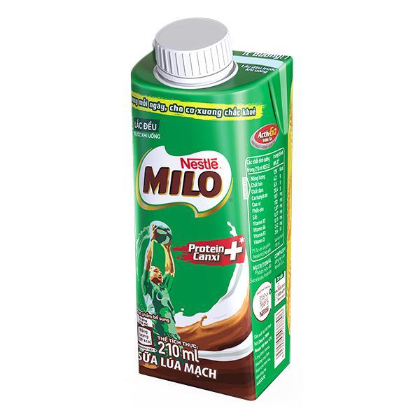 Thức Uống Dinh Dưỡng Lúa Mạch Nestle Milo Nắp Vặn Hộp 210Ml