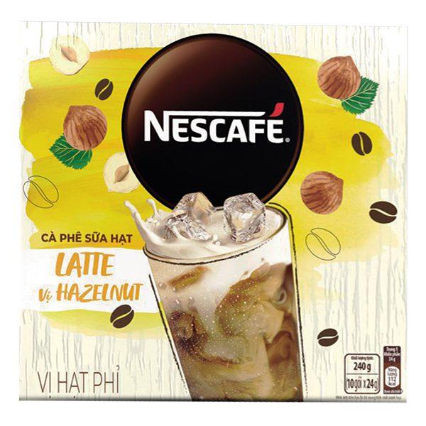 Cà Phê Sữa Hạt Nescafe Latte Vị Hạt Phỉ Hộp 10 Gói*24G