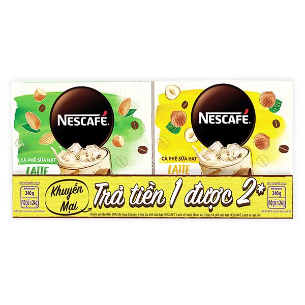 Combo Cà Phê Sữa Hạt Latte Nescafe Hạt Phỉ Và Hạnh Nhân Hộp 10 Gói*24G