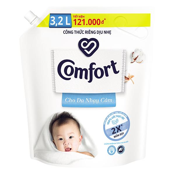 Nước Xả Vải Comfort Da Nhạy Cảm Túi 3.2L