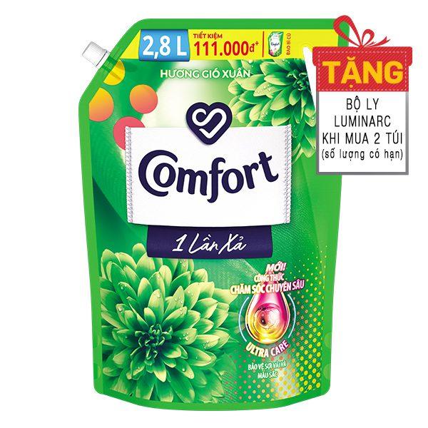 Nước Xả Vải Comfort 1 Lần Xả Hương Gió Xuân Túi 2.8L