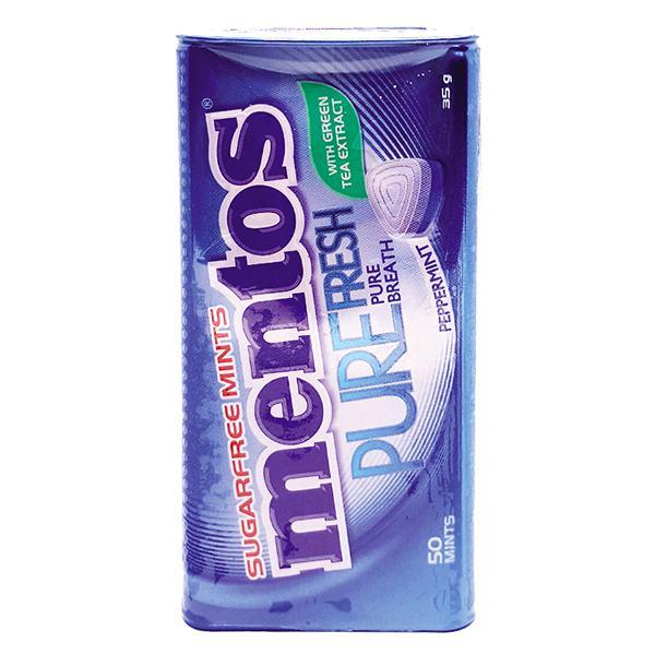 Kẹo Ngậm Mentos Pure Fresh Peppermint Không Đường Hũ 35G