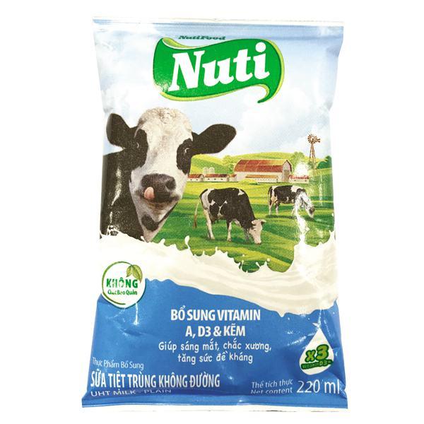 Sữa Tiệt Trùng Nutifood Không Đường Bịch 220Ml