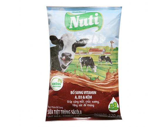 Sữa Tiệt Trùng NutiFood Socola Bịch 220Ml