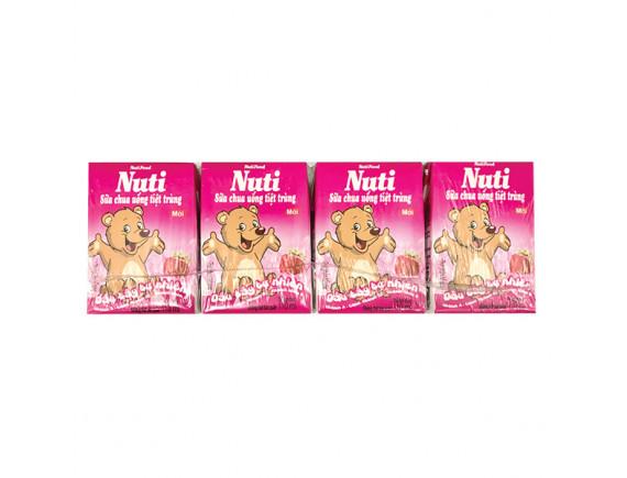 Lốc 4 Sữa Chua Uống Tiệt Trùng Nutifood Vị Dâu 110Ml