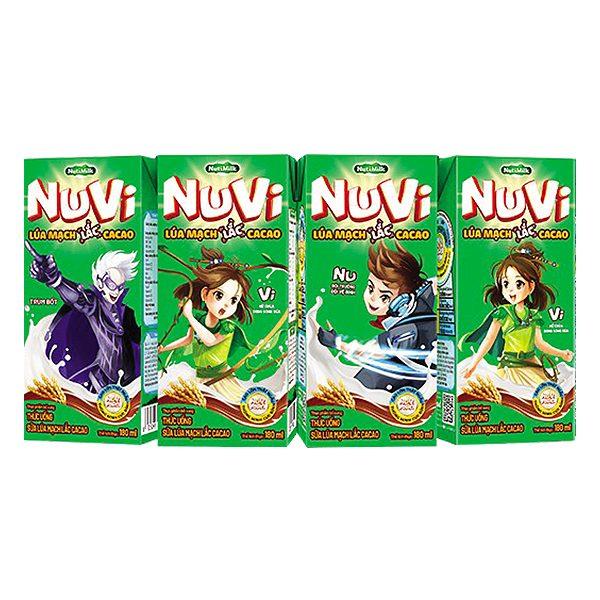 Lốc 4 Thức Uống Lúa Mạch Lắc Nuvi Cacao Hộp 180Ml