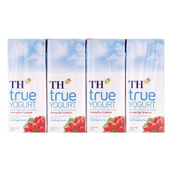 Lốc 4 Sữa Chua Uống Tiệt Trùng TH True Yogurt Dâu 180Ml