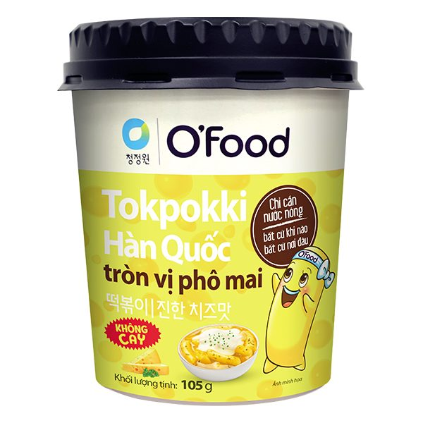Bánh Gạo Tokpokki O'Food Vị Phô Mai Không Cay Ly 105G