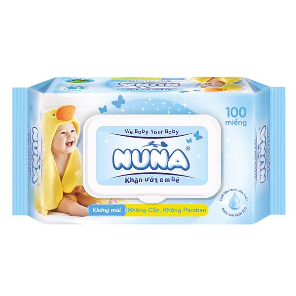 Khăn Ướt Baby Nuna 100 Miếng Không Mùi