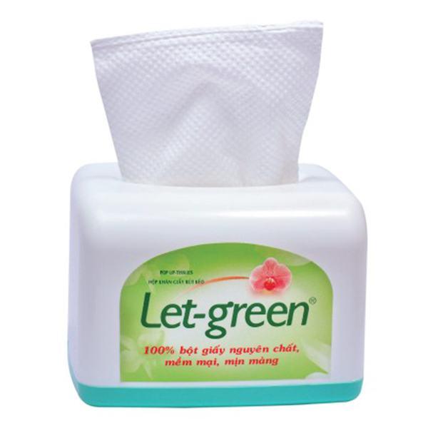 Khăn Giấy Rút Let Green 2 Lớp Hộp Nhựa Để Bàn 110 Tờ