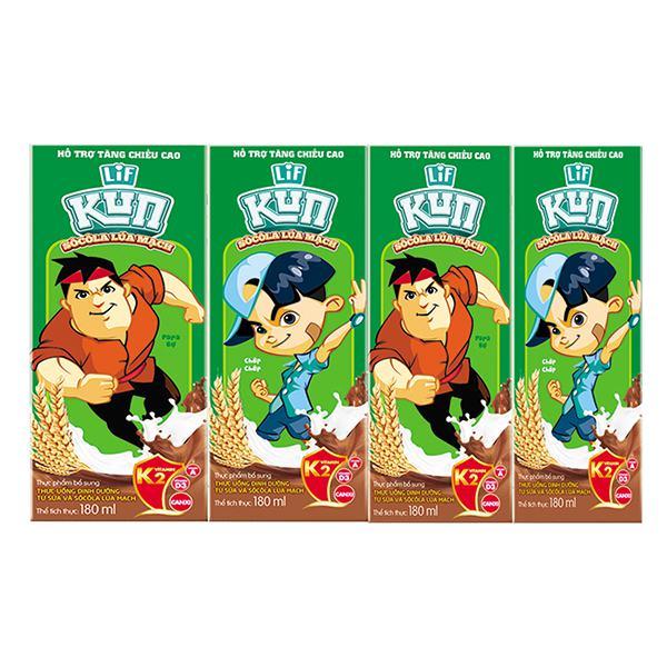 Lốc 4 Sữa Tiệt Trùng Lif Kun Socola Lúa Mạch 180Ml