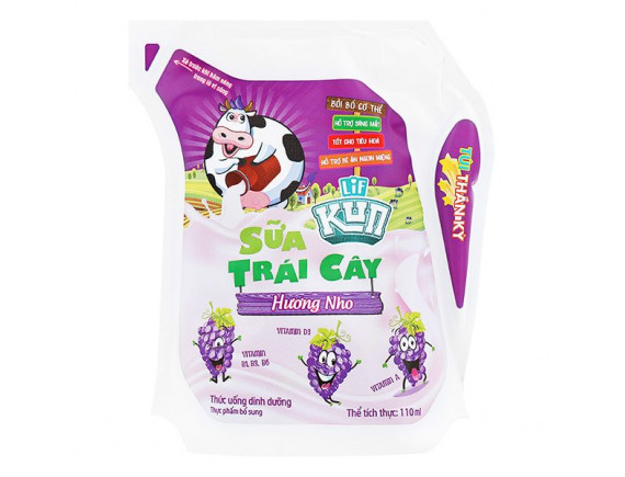 Sữa Chua Uống Tiệt Trùng Lif Kun Nho Túi 110Ml