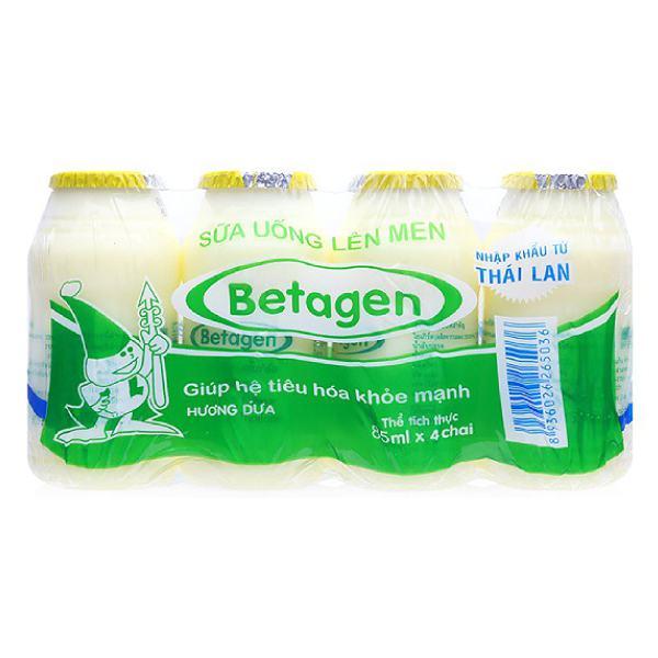 Lốc 4 Sữa Chua Uống Men Sống Betagen Dứa 85Ml