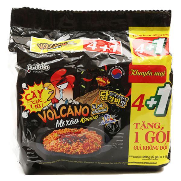Lô 5 Mì Xào Koreno Volcano Vị Gà Phô Mai Gói 118G