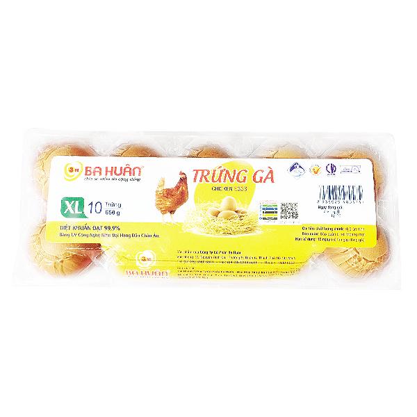 Hộp 10 Trứng Gà Ba Huân Size XL
