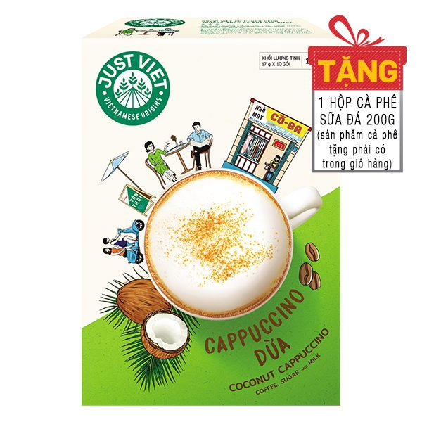 Cà Phê Cappuccino Dừa Just Việt 10 Gói*17G