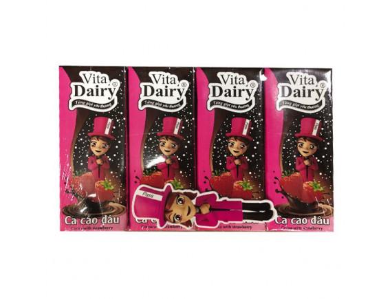 Lốc 4 Thức Uống Vita Dairy Vị Dâu Hộp 180Ml