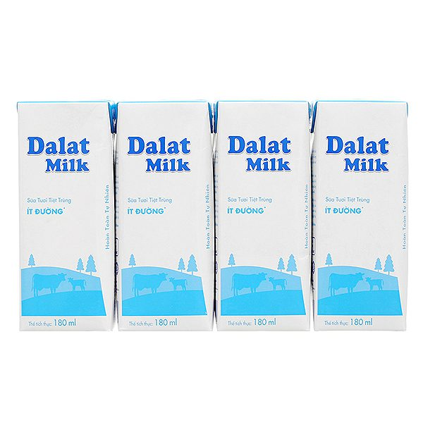 Lốc 4 Sữa Tươi Tiệt Trùng Dalat Milk Ít Đường Hộp 180Ml