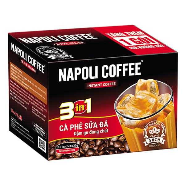 Cà Phê Sữa Đá Napoli 3in1 Hộp 10Gói*22G