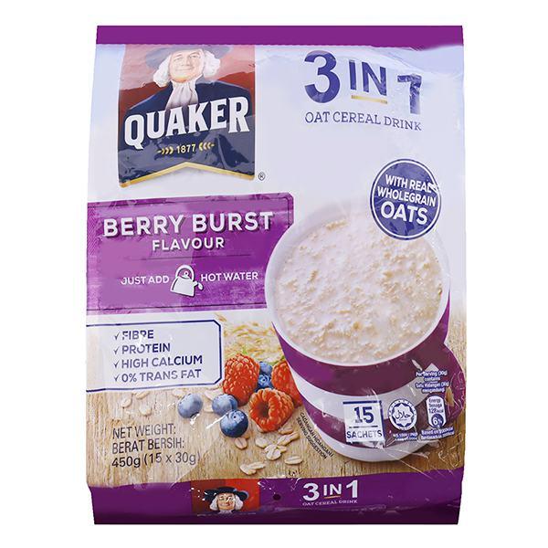 Thức Uống Yến Mạch Quaker 3in1 Dâu 15 Gói*30G